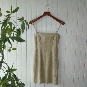 Vintage Windsor gold Dore strappy mini dress M